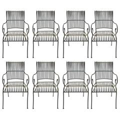 Set of Eight Chairs, Wrought Iron, circa 1970, France