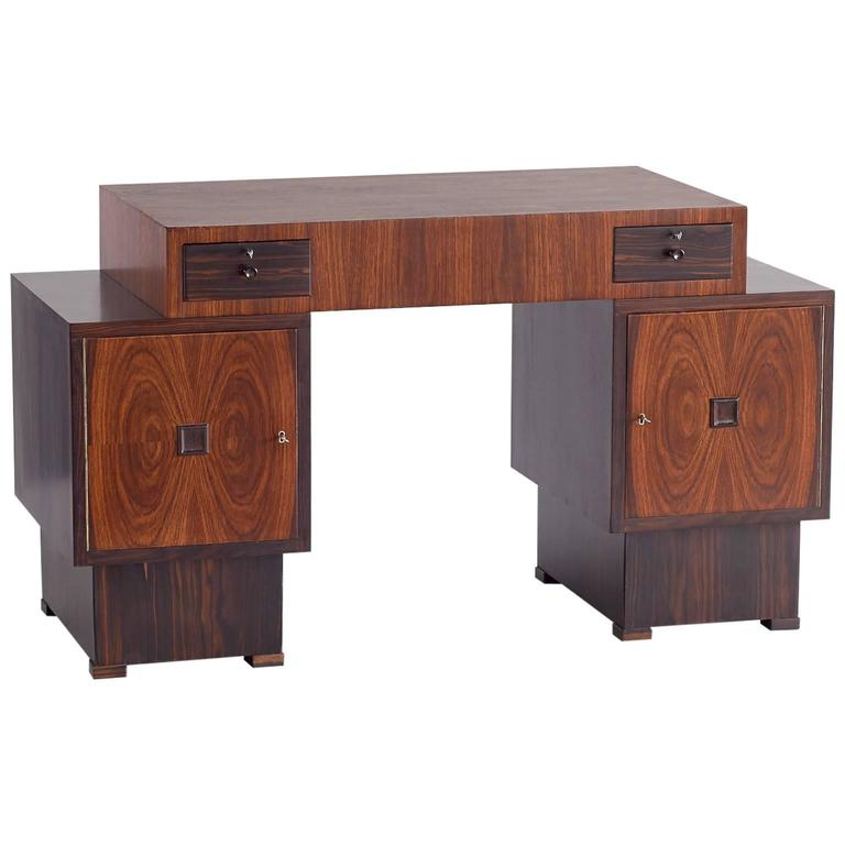 Rosewood and Macassar Ebony Art Deco Desk by 't Woonhuys Amsterdam, 1925
