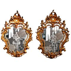 Pair of Carved Giltwood Etched Mirror Glass Girandoles