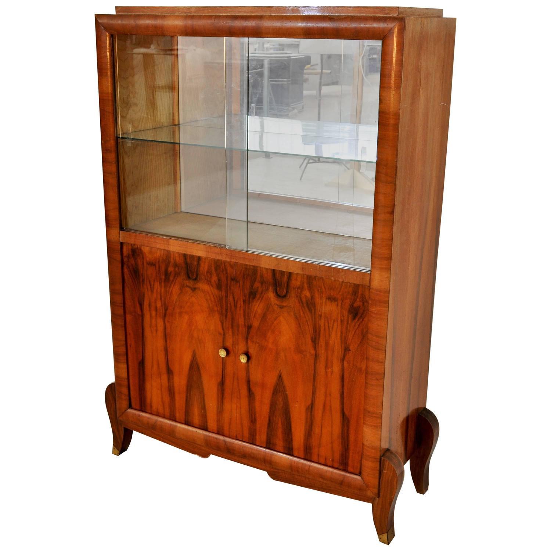 Art deco palisander vitrine with sliding glass doors for for Sliding glass doors for sale