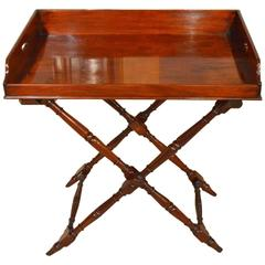 Fine Quality Mahogany Early Victorian Period Butlers Tray on Stand