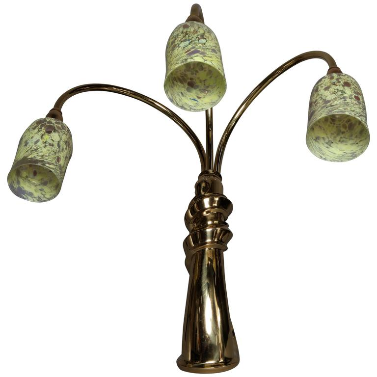 Italian Sculptural Bronze Table Lamp With Venetian Glass Shades Circa 1960