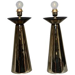 Pair of Italian Table Lamps in Gold Mirrored Murano Glass, circa 1960
