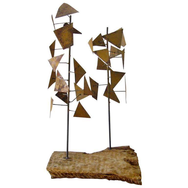 Brass Wood Abstract Tree Sculpture For Sale At 1stdibs