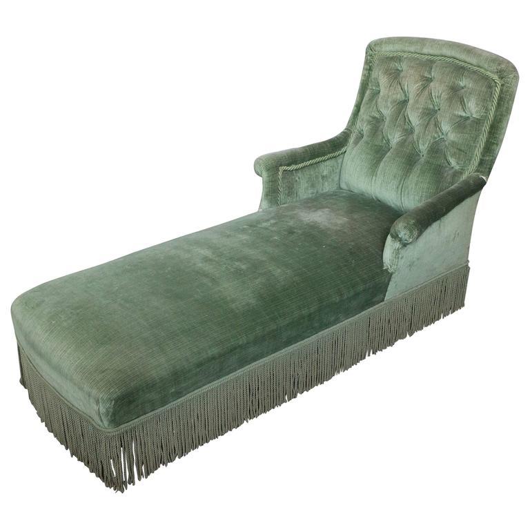 19th Century Light Green Velvet Chaise 1