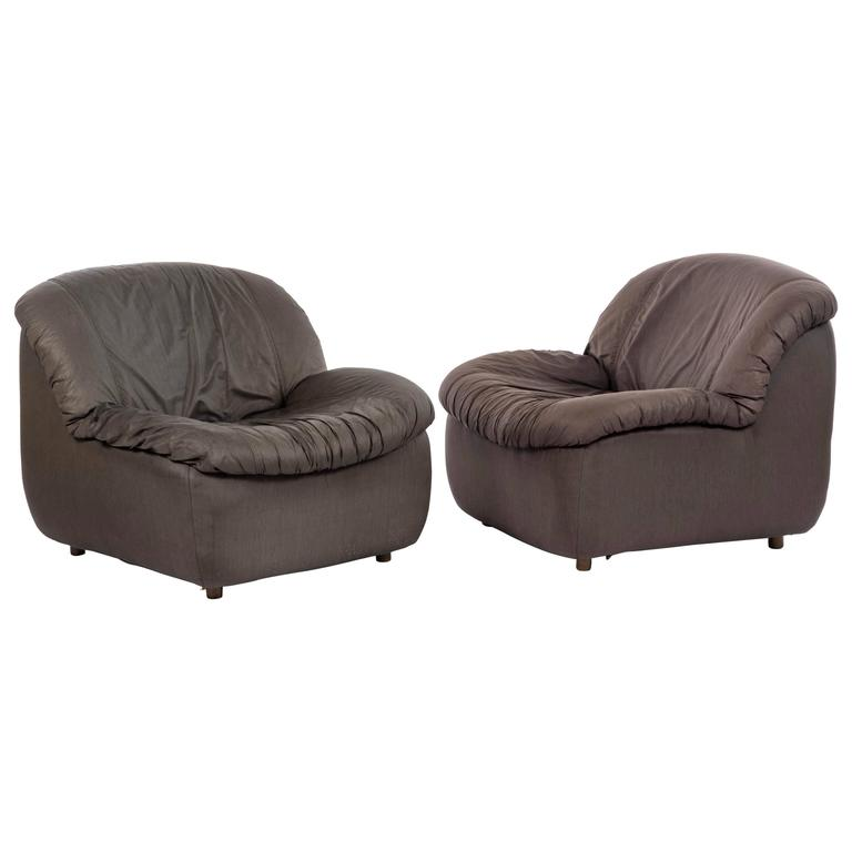 Pair of 1970s Modern Lounge Chairs in Black Parachute Fabric