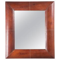 Large French Mirror with Stitched Leather