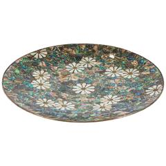 Mexican Silver Platter with Shell Inlay