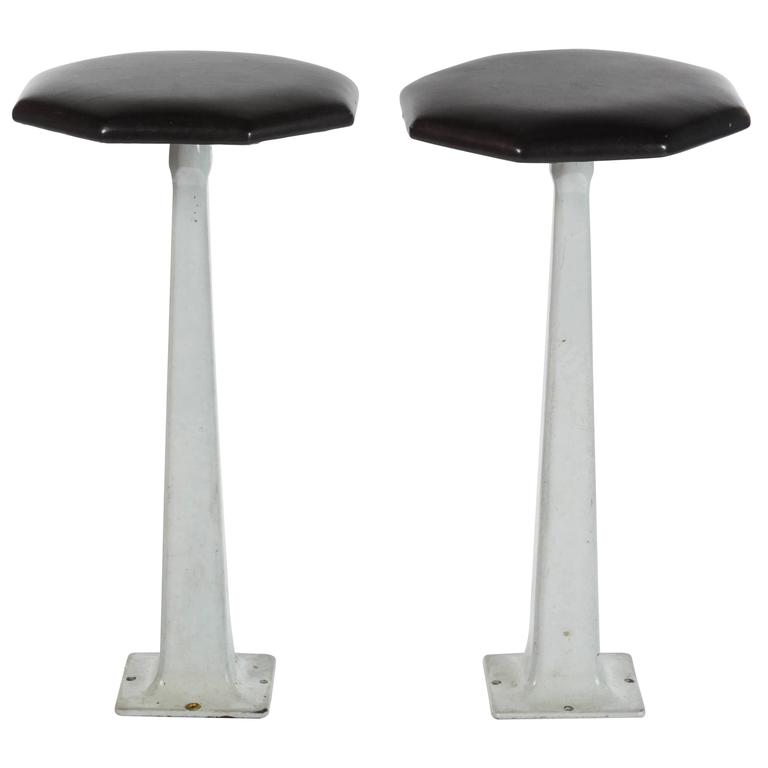 Pair of 1940s Industrial Stools with Leather Tops