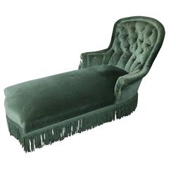 French 19th Century Napoleon III Period Green Velvet Chaise Lounge