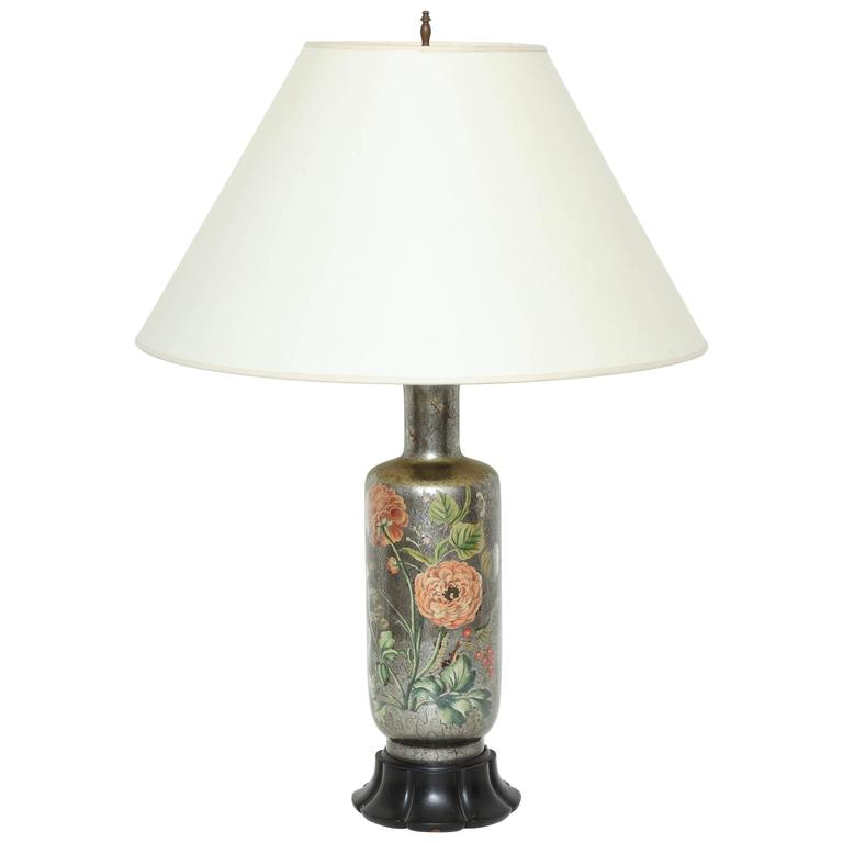 English Silvered Glass Decoupage Lamp 1