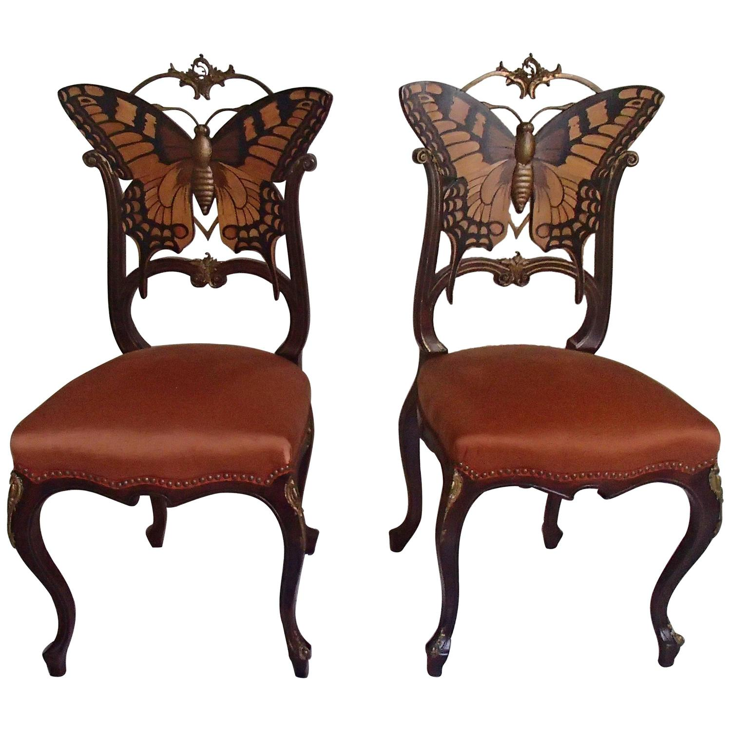Pair Of Early Art Nouveau Butterfly Chairs Inlays And Brass For Sale At 1stdibs
