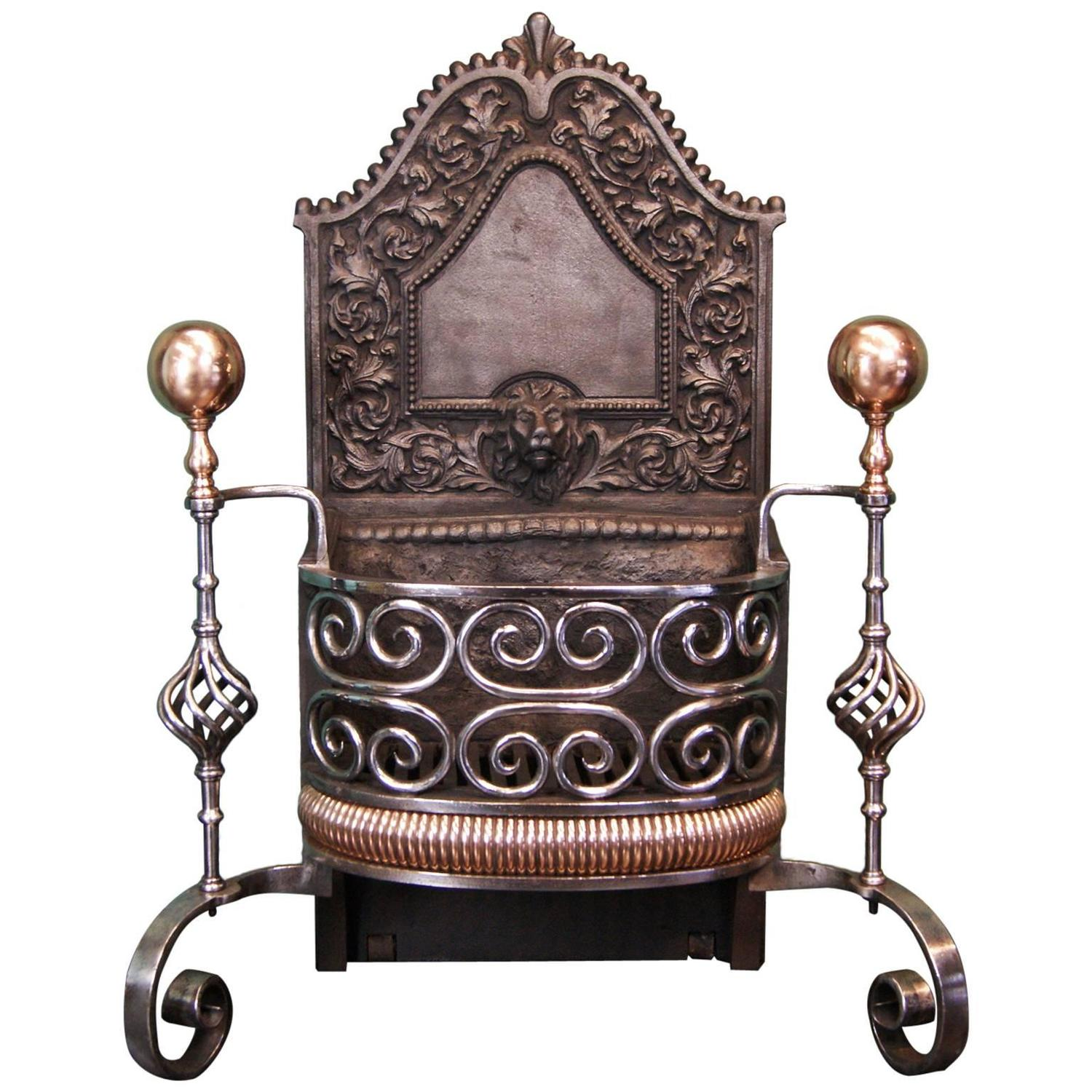 Wrought And Bronze Fireplace Fire Grate For Sale At 1stdibs
