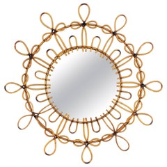 Spanish 1960s Rattan Wicker Flower Burst Mirror with Pyrography Details