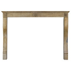 19th Century Honey Color Antique Fireplace Mantle in Limestone