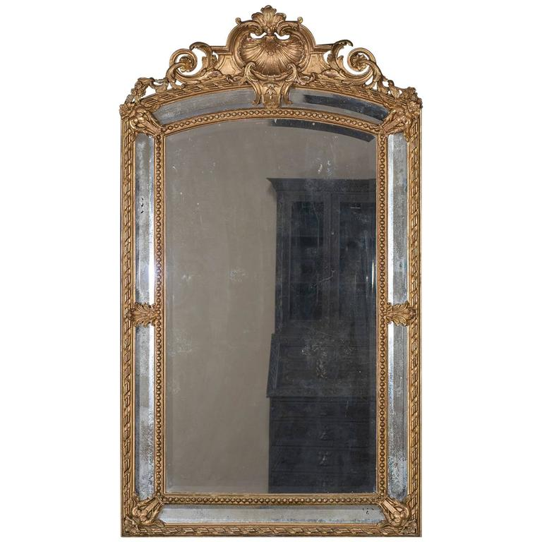 Antique French Louis Philippe Pareclose Mirror, circa 1890 For Sale