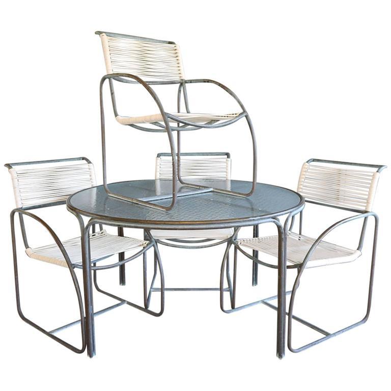 Kipp Stewart For Terra Tubular Bronze Outdoor Dining Set For Sale