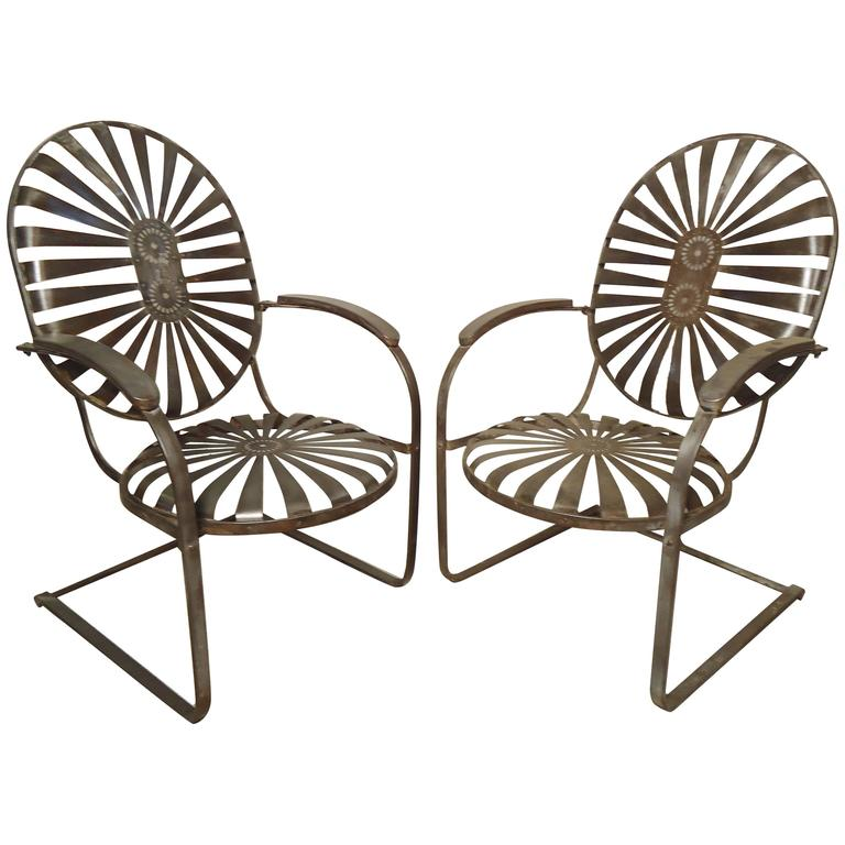 Pair Of Refinished Spring Patio Chairs