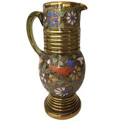 Antique Moser Pitcher Enamel and Raised Gilt Decoration, circa 1900