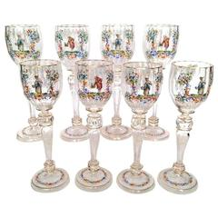 Eight Lobmeyr Style Wine Glasses, Austria, circa 1900, Hand-Painted, Extra Tall
