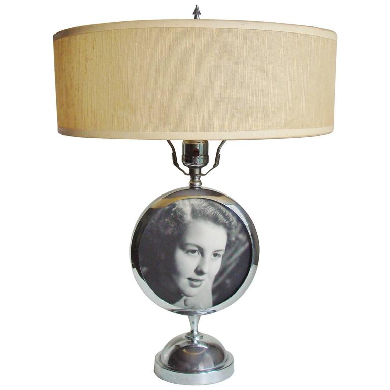American Art Deco Chrome Table Lamp with Integral Photo Frame by Rubal Lighting. 1