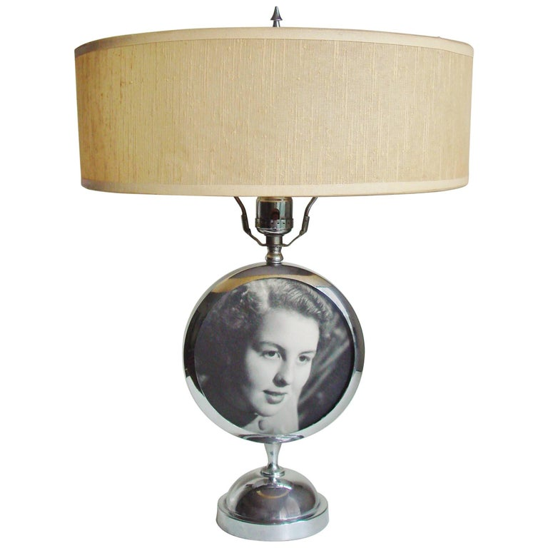 American Art Deco Chrome Table Lamp with Integral Photo Frame by Rubal Lighting. For Sale