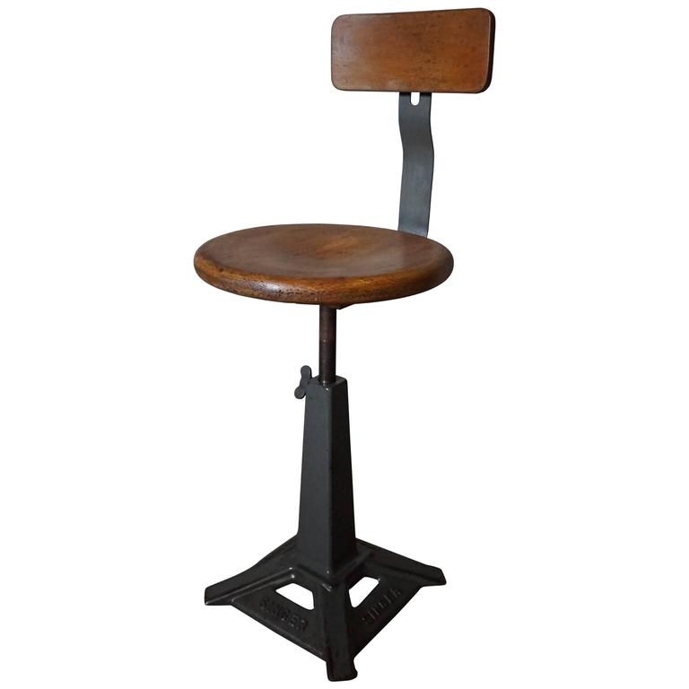 Singer Work Chair Stool At 1stdibs