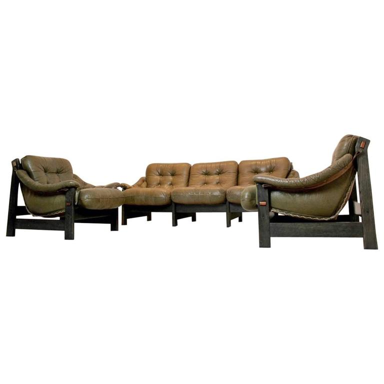 Brazilian Ebony and Leather Three-Piece Seating Group, Jean Gillon For Sale