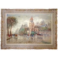 Antonio DeVity Original Oil on Canvas Paris Street Scene, Signed