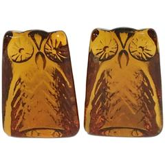 Vintage Pair of Blenko Glass Amber Owl Book Ends