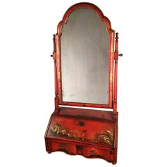 George I Red Japanned and Gilt Toilet Mirror