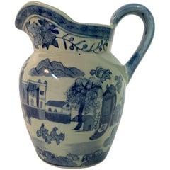 19th Century Asia Blue & White Ceramic Beverage Pitcher