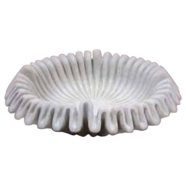 Marble Folded Rim Bowl, India, Contemporary