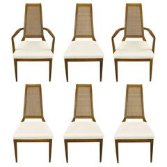 Sleek, circa 1950s Modern Walnut and Cane Dining Chairs
