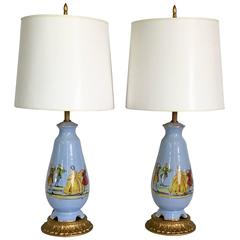 Pair of French Blue Decalcomania Porcelain Figural Motif Lamps