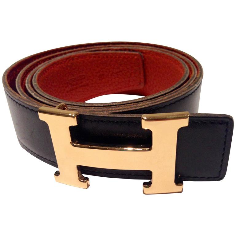 hermes gold quot h quot constance brown leather belt at 1stdibs