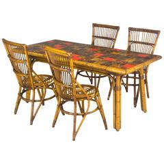 French Rattan Dining Set