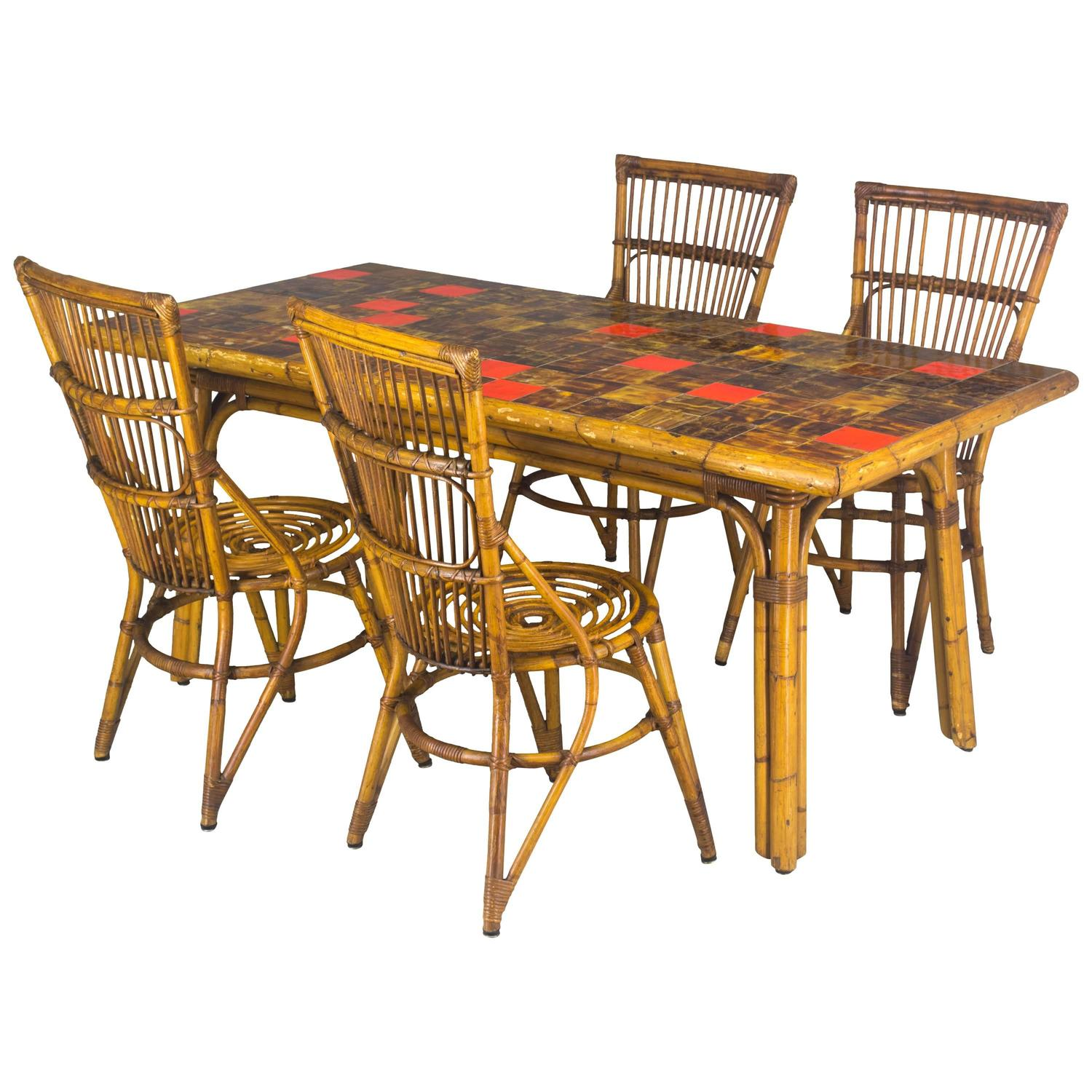 French Rattan Dining Set At 1stdibs
