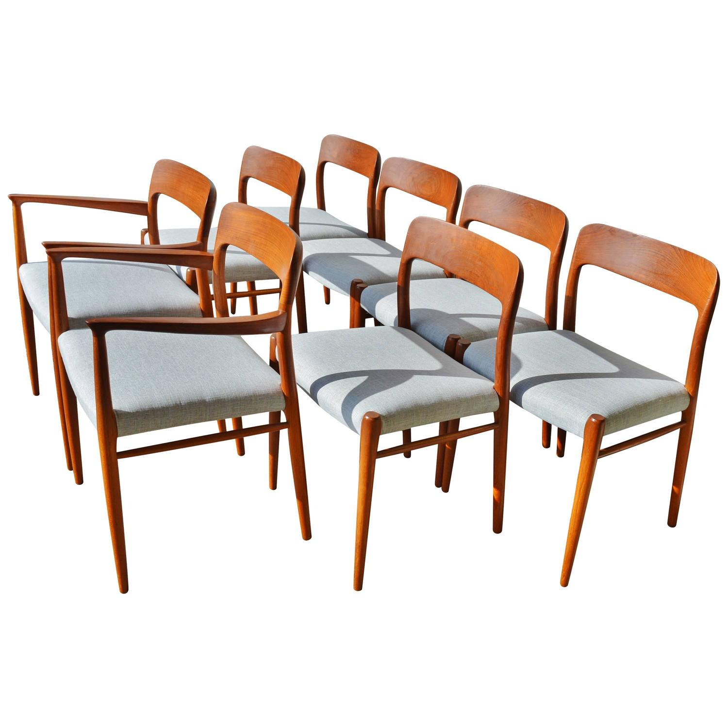 Niels M Ller Model 75 Reupholstered Teak Dining Chairs At 1stdibs