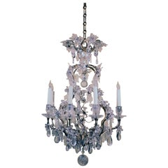 Louis XV Style Rock Crystal and Gilt Bronze Chandelier in Maison Baguès Style
