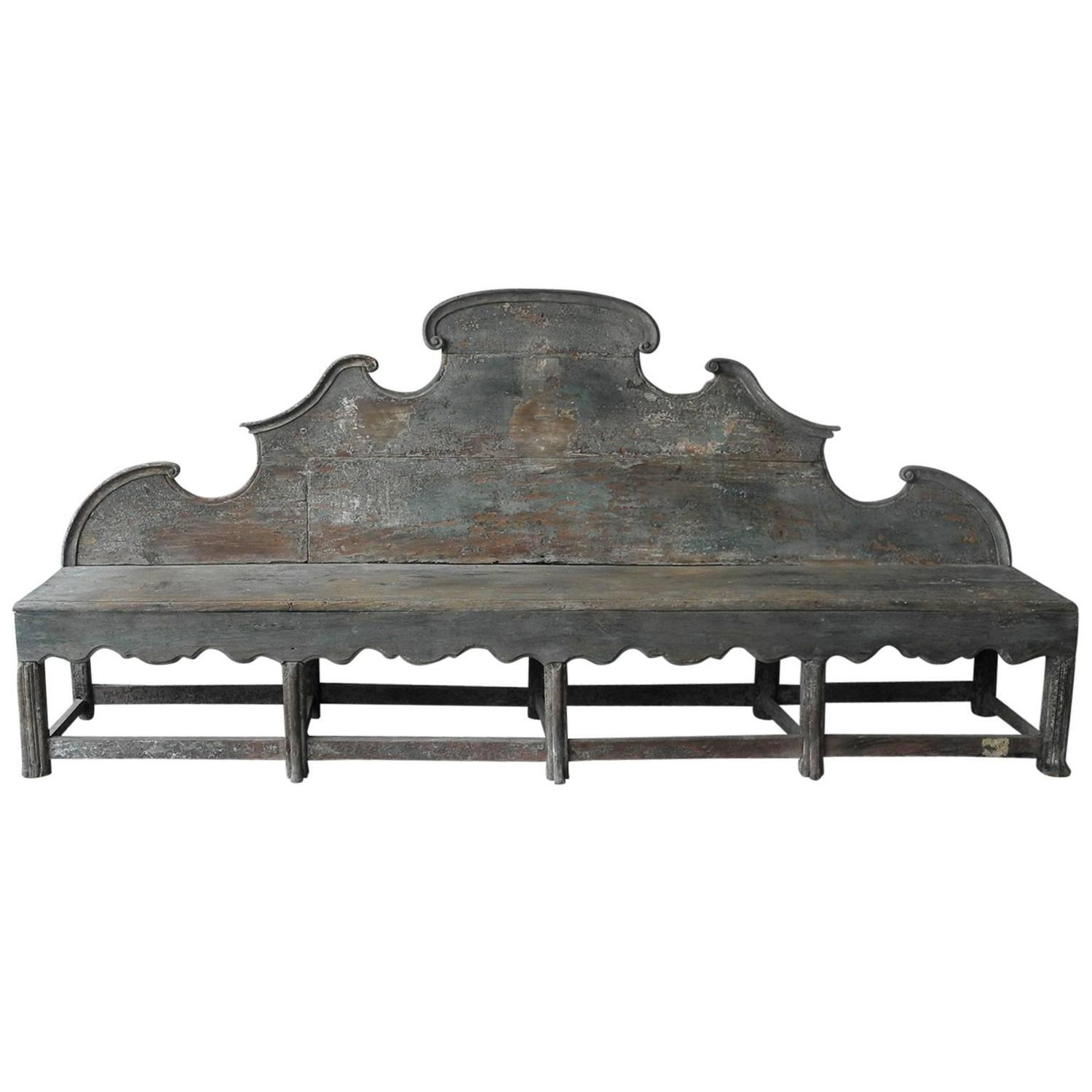 Antique 18th Century Long Carved Italian Wooden Bench With Blue Patina At 1stdibs