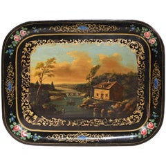 19th Century, French, Napoleon III Hand Painted Tole Tray with Pastoral Scene