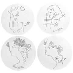 Jean Cocteau French Limoges Ceramic Plates, circa 1958