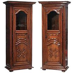 Pair of 18th Century Louis XVI Walnut Bonnetieres Armoires