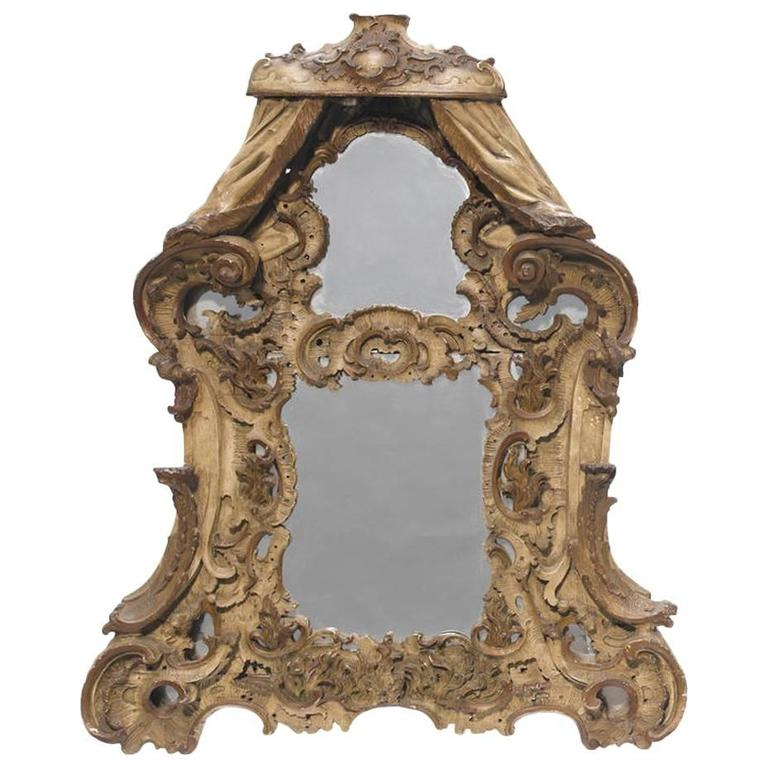 19th Century Venetian Baroque Style Painted Mirror
