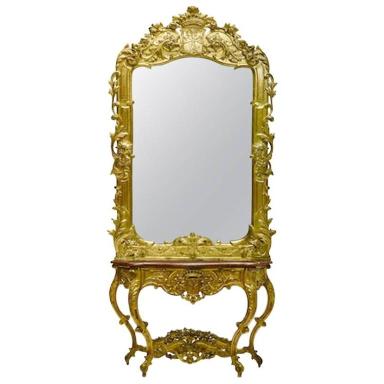Italian Rococo Style Giltwood Console And Mirror With Crown 19th Century For