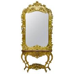 Italian Rococo Style Giltwood Console and Mirror, 19th Century