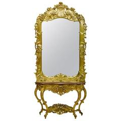 Italian Rococo Style Giltwood Console and Mirror with Crown, 19th Century