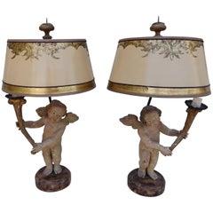 Pair of 19th Century Italian Cherub Lamps with Custom Shades