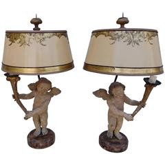 Pair of 19th Century Italian Cherub Lamps with Custom Shades